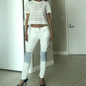 """GAP Jeans - Gap white jeans with light blue """"patch"""" knees"""
